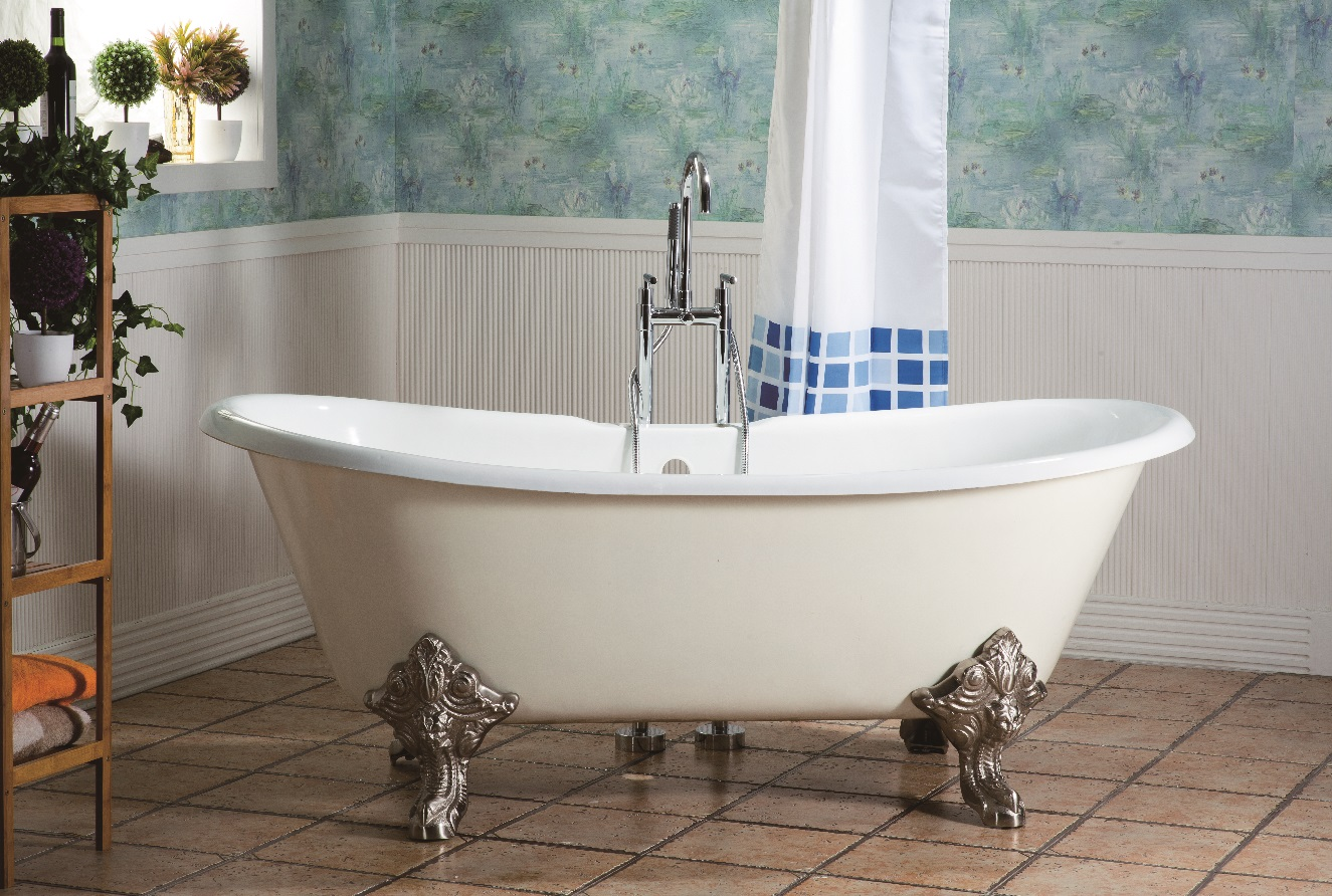 71″ Cast Iron Double Slipper Tub with Imperial Feet
